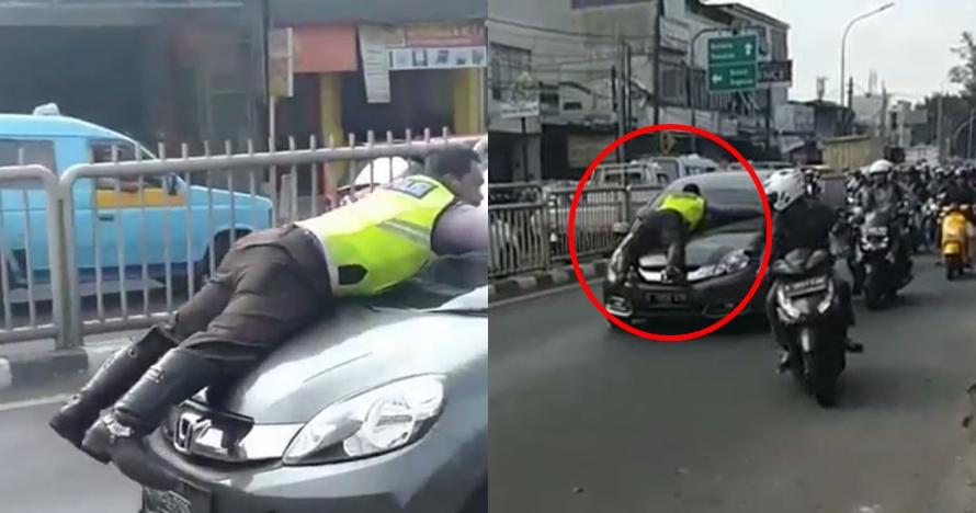 Viral video polisi nyangkut di kap mobil, begini kronologinya