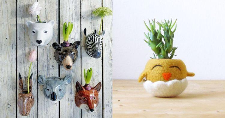 17 Pot bunga mungil berbentuk hewan, percantik sudut rumah