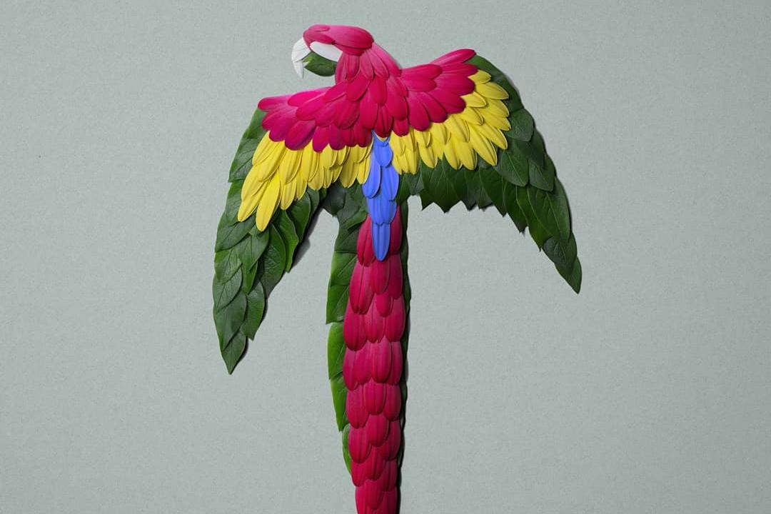 Mirip asli, 16 patung hewan ini dibuat dari bunga