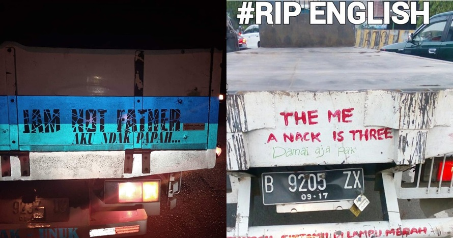 9 Tulisan bahasa Inggris di bak truk ini kocaknya bikin mikir