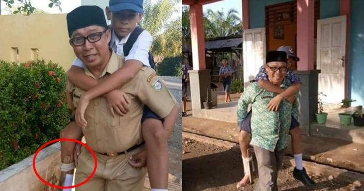Muridnya patah kaki, guru ini gendong untuk antar jemput sekolah