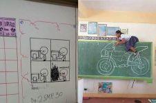 8 Ulah guru dan murid manfaatkan papan tulis ini bikin nyengir