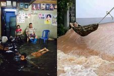 10 Potret orang menghadapi banjir ini bikin geleng-geleng kepala