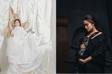 7 Potret maternity Yasmine Wildblood, bernuansa hitam putih