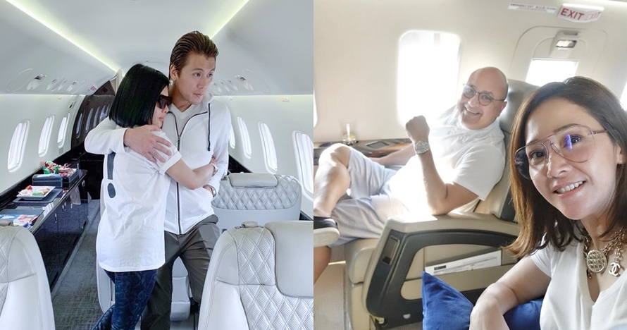 Momen mesra 5 pasangan seleb di jet pribadi, so sweet