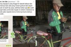 Kisah driver ojek online narik pakai sepeda, endingnya bikin haru