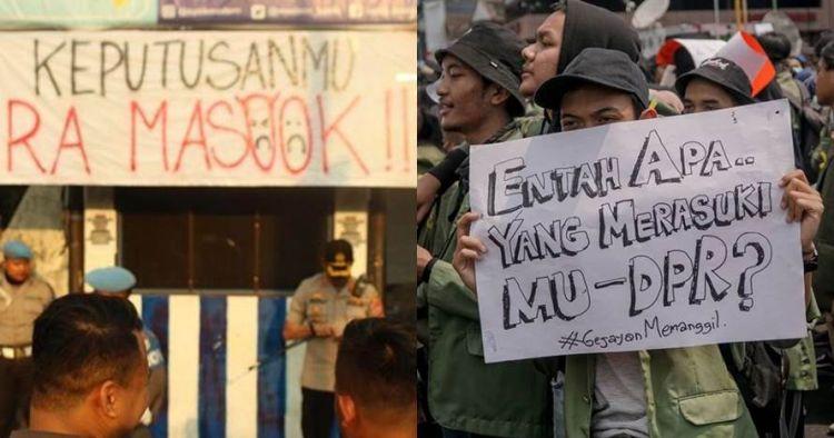 10 Tulisan pamflet dan spanduk demo #GejayanMemanggil ini kocak