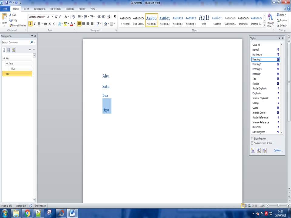 cara membuat daftar isi di microsoft