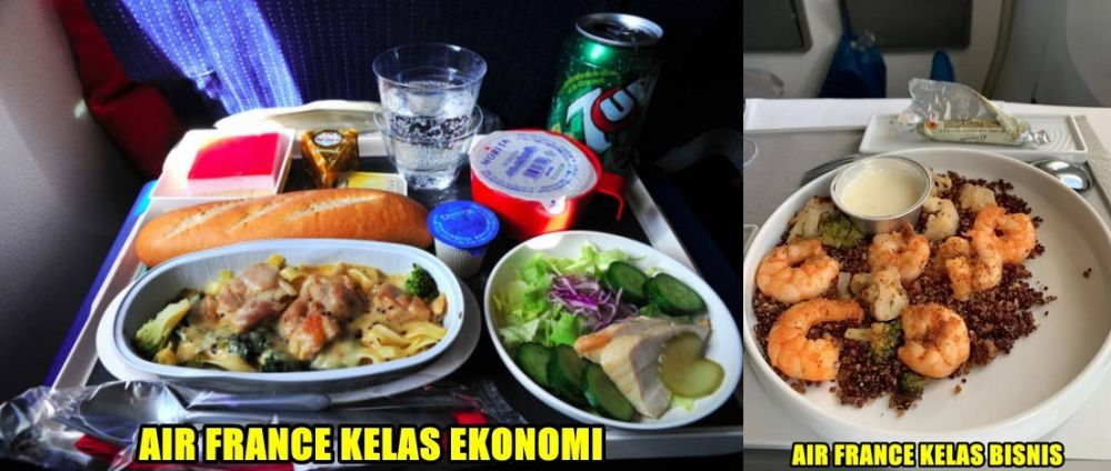beda potret makanan kelas ekonomi vs bisnis © buzzfeed.com
