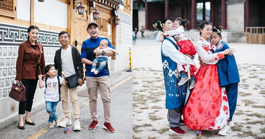 11 Potret keluarga Ruben Onsu di Korea, liburan pertama Betrand Peto