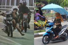 10 Gaya cewek Indonesia naik motor ini tak biasa, bikin ngakak