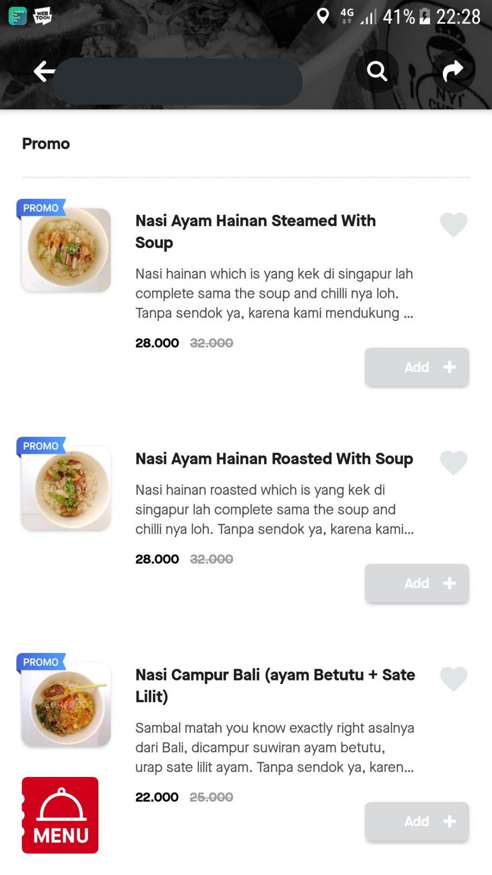 deskripsi menu makanan aplikasi ojek online © Twitter