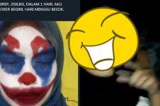 Kalah taruhan, cewek ini nonton film Joker pakai riasan badut