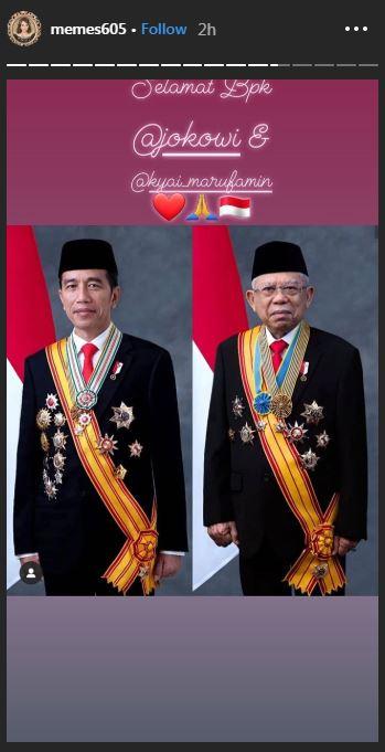 Ucapan selamat seleb untuk Jokowi-Ma'ruf © 2019 instagram.com