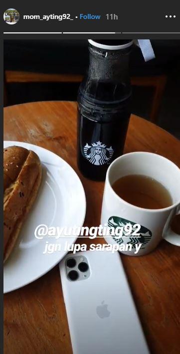 Ibu Ayu Ting Ting unggah menu sarapan Instagram