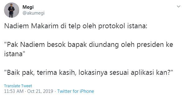 cuitan lucu Nadiem Makarim jadi menteri © 2019 twitter.com