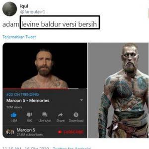 10 Cuitan lucu gaya baru Adam Levine, dibilang mirip Baldur