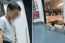 Aksi pria biarkan anaknya sendirian dekat pintu MRT, miris