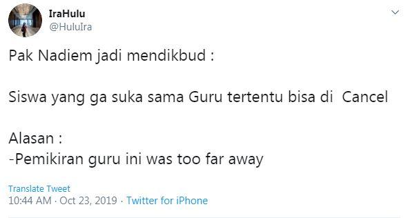 Cuitan lucu Nadiem Makarim jadi Mendikbud © 2019 twitter.com