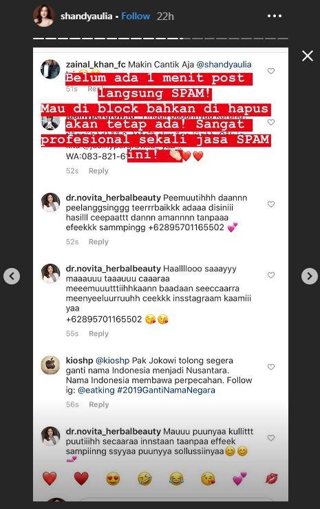 Kesal banyak spam promosi Instagram/@shandyaulia