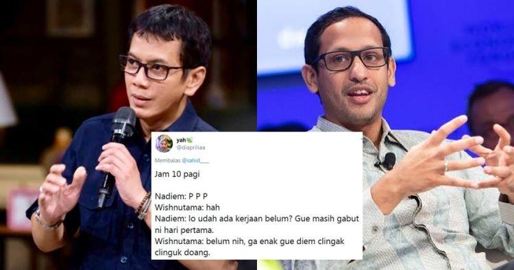 10 Dialog imajinatif Nadiem & Wishnutama jadi menteri baru, kocak