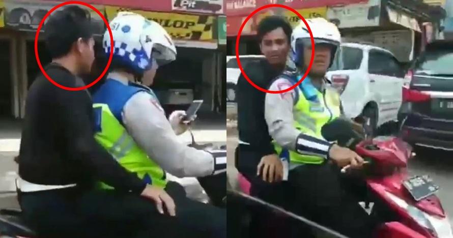 Viral polisi boncengi pria tak pakai helm, ditegur warga