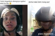 9 Momen apes pakai helm driver ojek online, kocak
