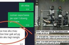 7 Momen driver ojek online tak bawa jas hujan, endingnya baper
