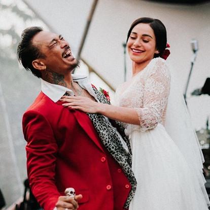 10 Momen resepsi pernikahan Nora Alexandra & Jerinx SID