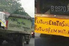 10 Kata-kata gombal di mobil truk ini bikin senyum getir