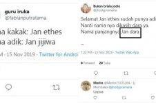 6 Cuitan lucu menebak nama adik Jan Ethes ini kocak