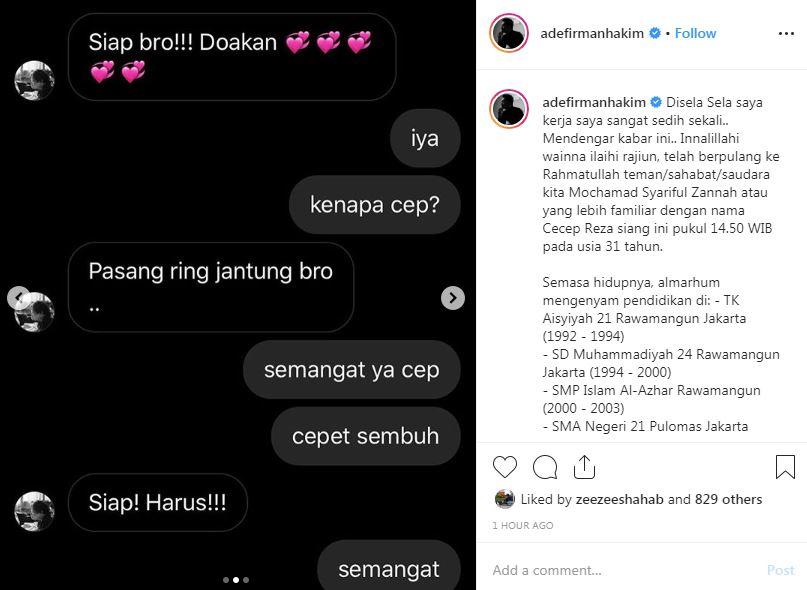 Pemeran bombom meninggal  Instagram