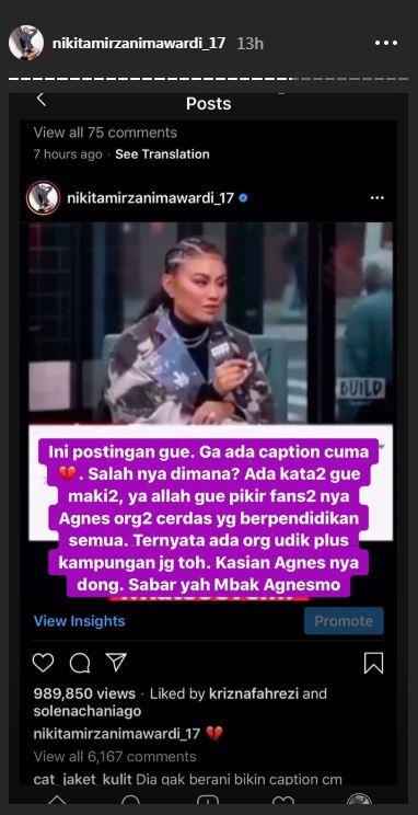 Niki geram diserang fans Agnez  Instagram