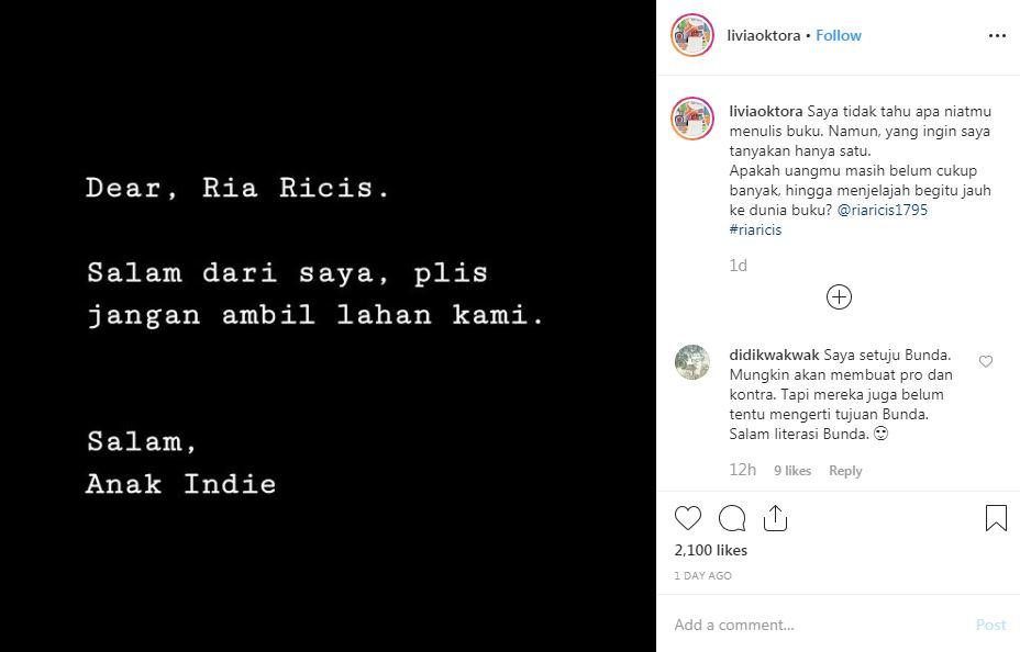 Ria Ricis 'diserang' Livia Oktora Instagram