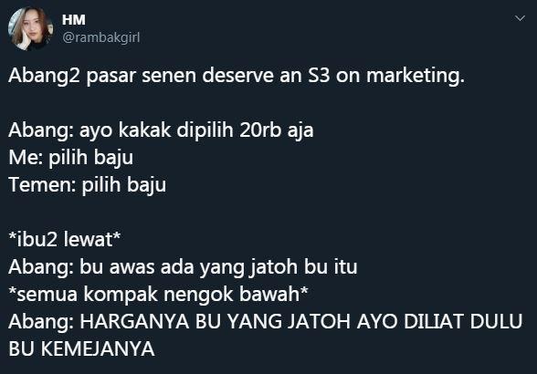 trik marketing jual pasar © Twitter