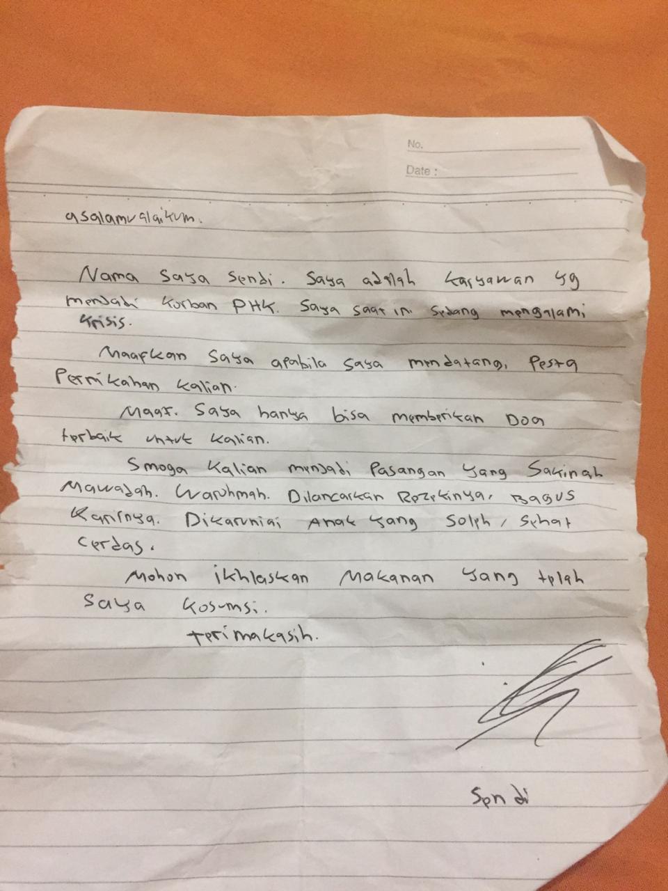 surat tamu tak diundang mewek © Twitter/@PebriansyahW