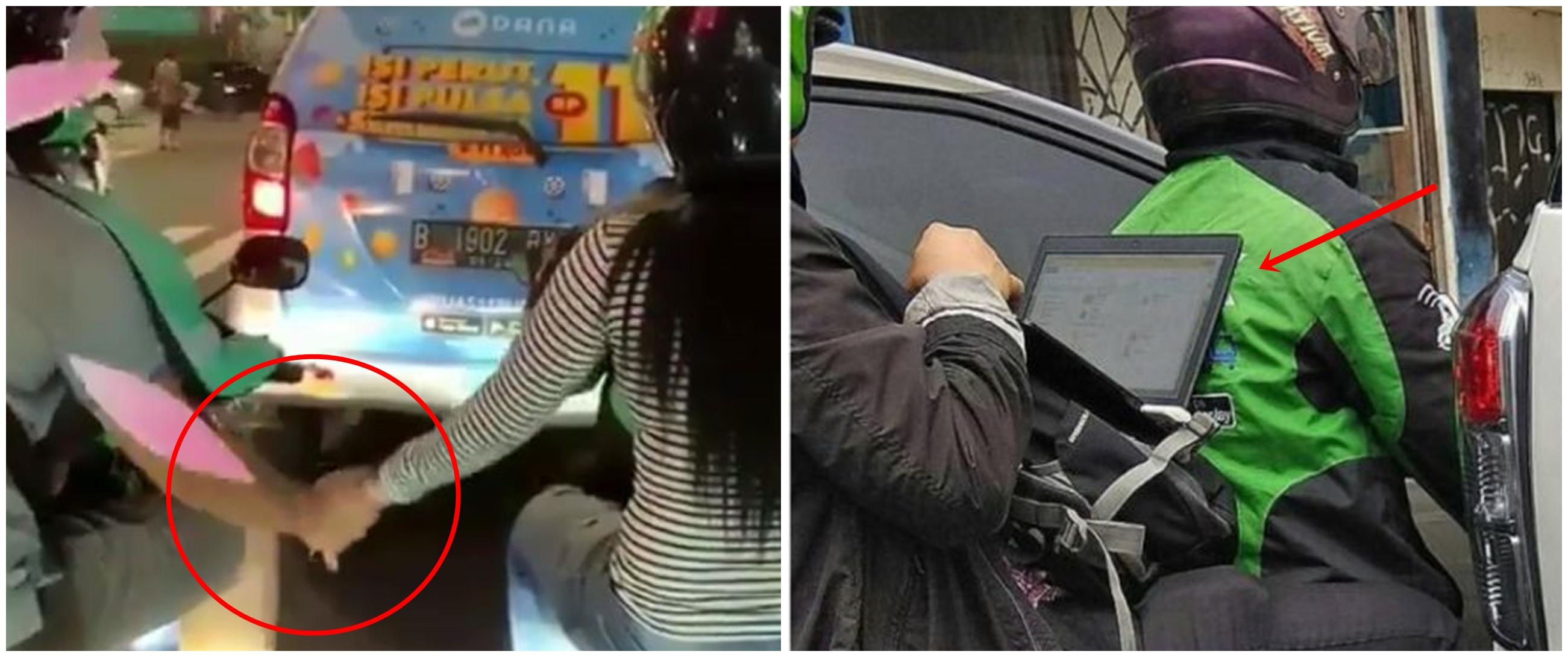 7 Kelakuan lucu penumpang ojek online saat berhenti di lampu merah