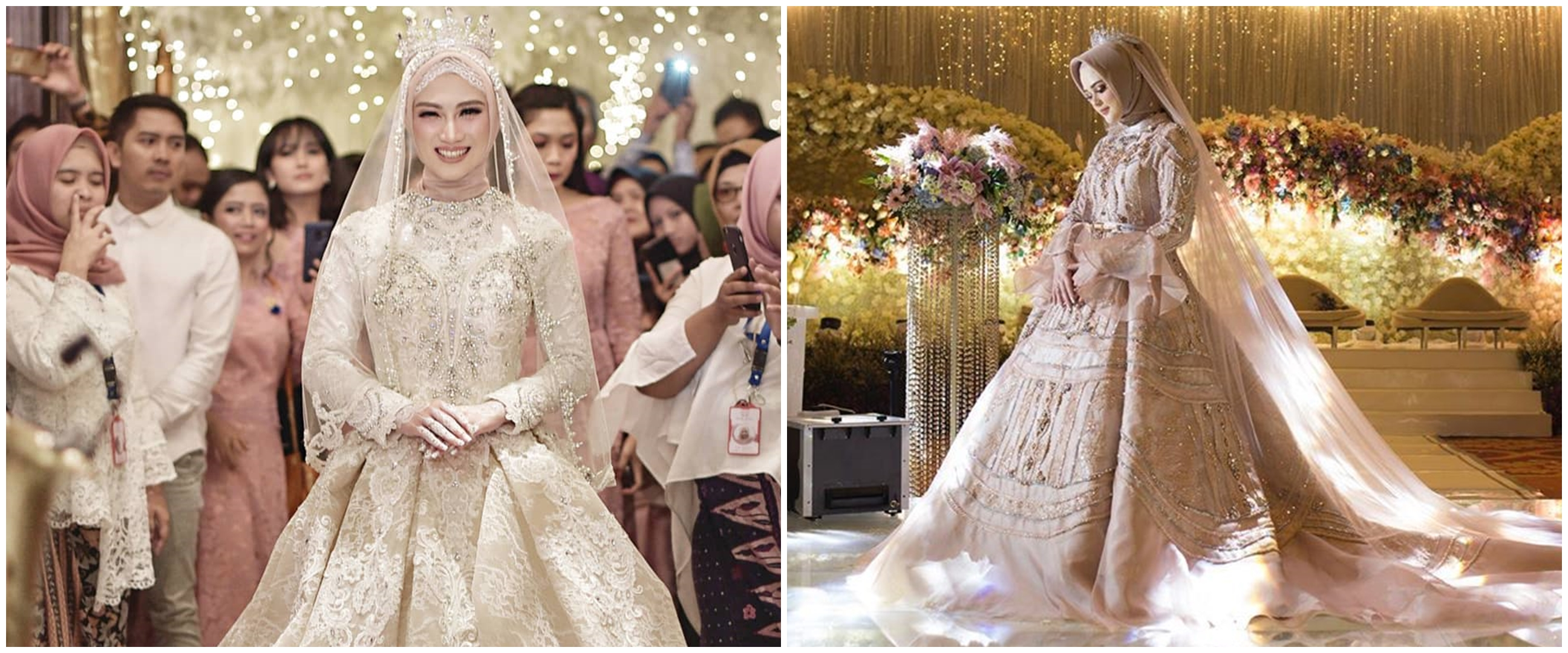 Inspirasi gaun pernikahan 10 seleb berhijab, elegan bak princess