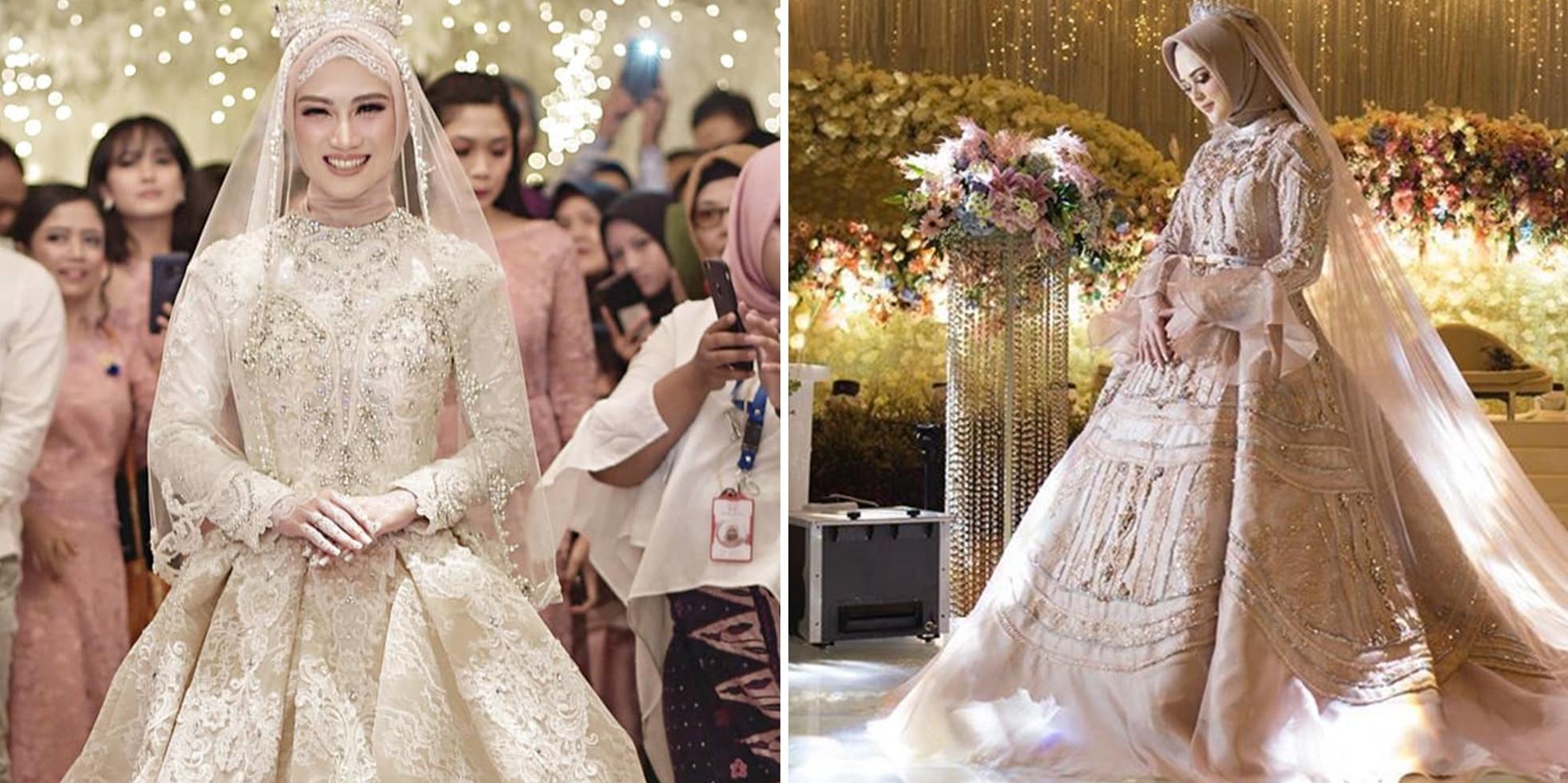 Inspirasi gaun pernikahan 8 seleb berhijab, elegan bak princess