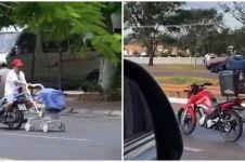 10 Potret lucu bapak-bapak terlalu santai di jalan raya, kocak
