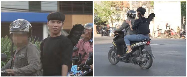 Viral, video kocak 'bidadari' dibawa kabur motor pelanggar marka