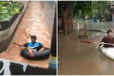 10 Kelakuan orang terjebak banjir ini bikin gagal paham