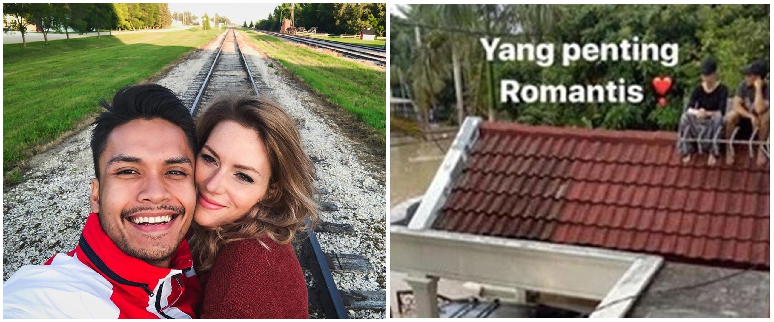 5 Potret Randy Pangalila & istri bule saat banjir, duduk di genteng