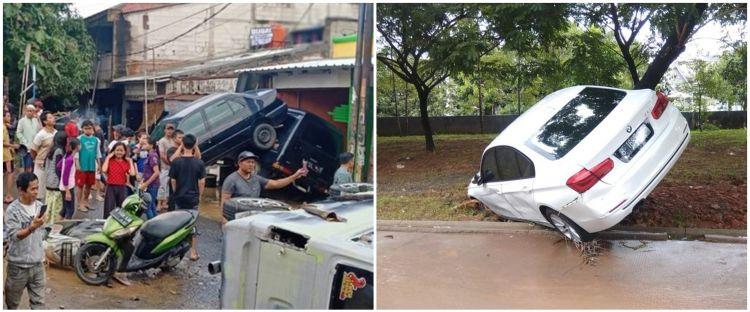 5 Potret pasca banjir Jakarta & sekitar, mobil bertumpukan