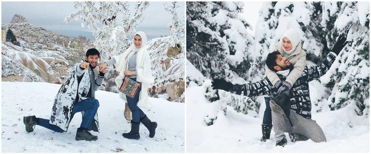 7 Momen seru Ammar Zoni dan Irish Bella main salju di Turki