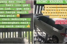 Viral promo nyeleneh tukang cuci mobil, 9 caranya kocak abis