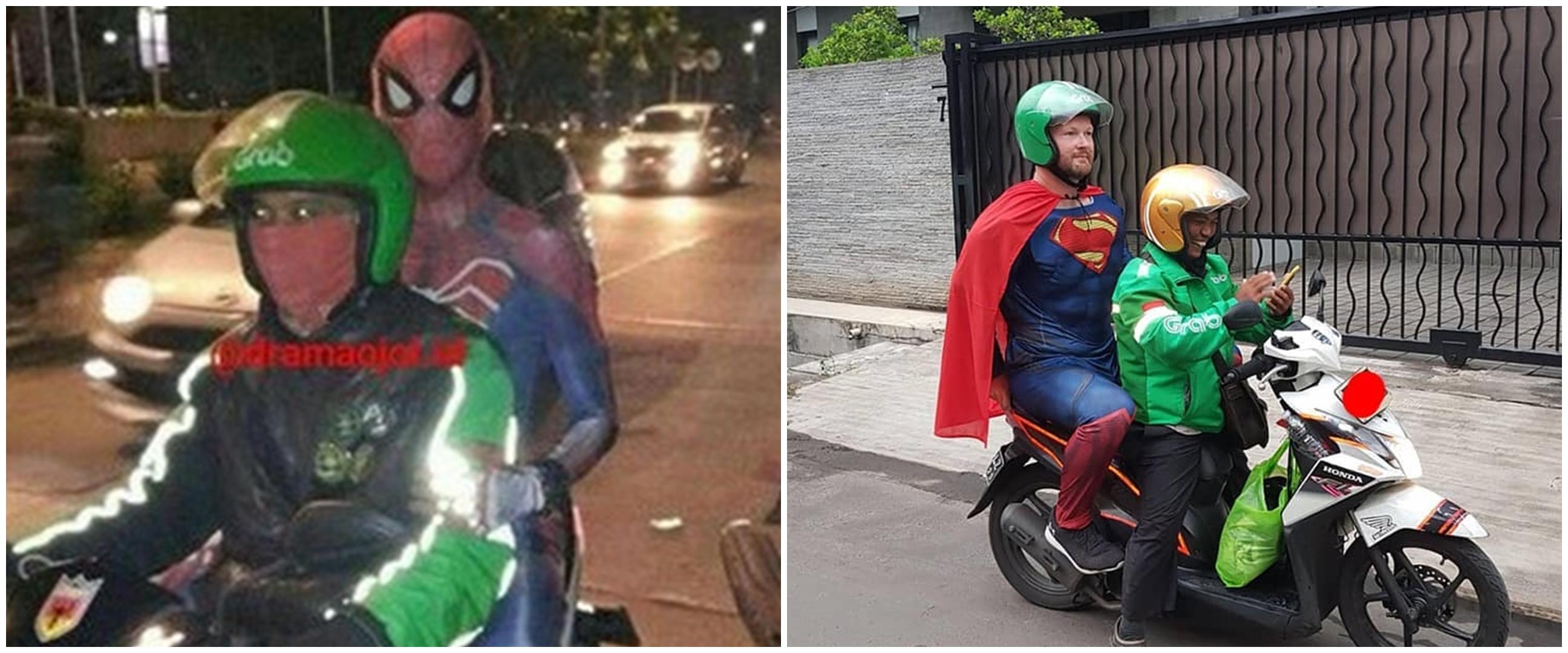 7 Potret 'superhero' naik ojek online ini kocak abis