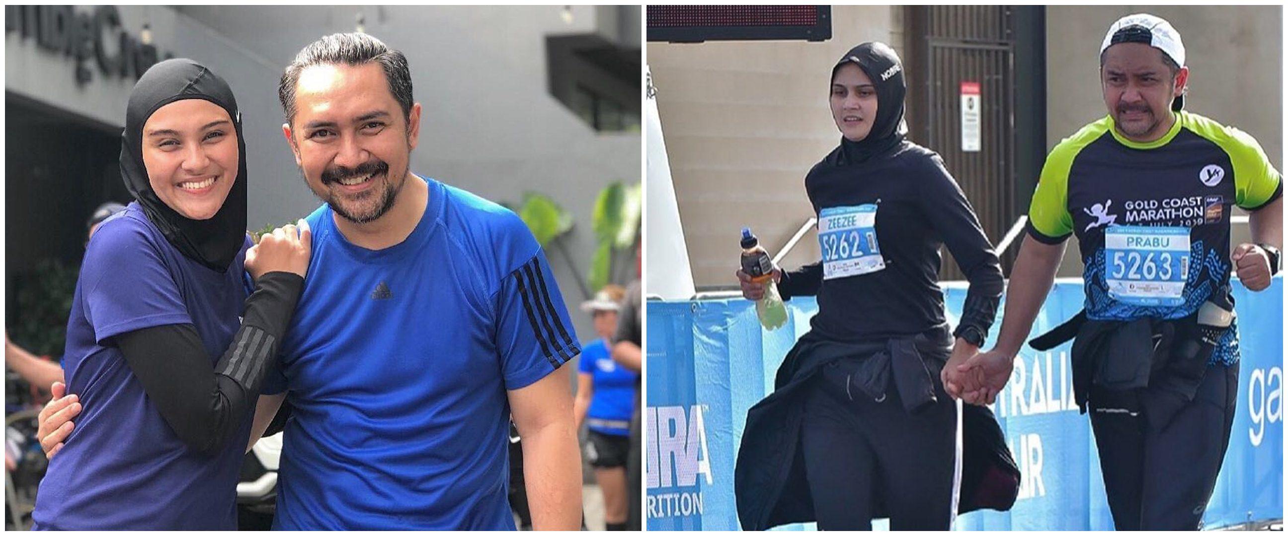 9 Potret Zee Zee Shahab dan suami olahraga lari, kompak abis