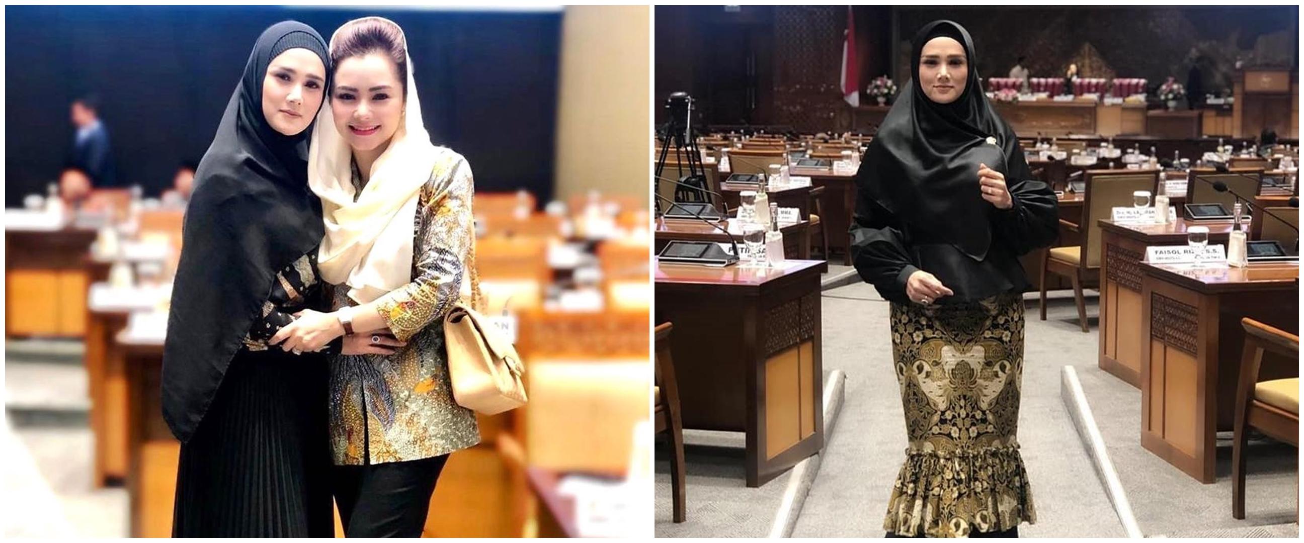 8 Gaya Mulan Jameela ngantor di DPR, bikin salah fokus