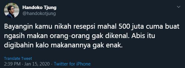bayangin nikah 500 juta © Twitter